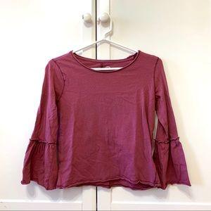 Bell Sleeve Maroon Shirt